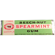Vintage, Beech-Nut Spearmint Gum, Sample Stick