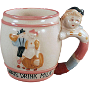 Child's Vintage Milk Cup with a Cute Decorations and a Figural Handle