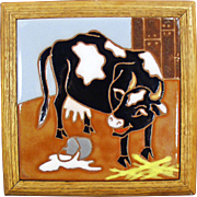 Old Art Tile - Colorful Cow and Spilt Milk - Fun Kitchen Art