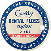 Vintage, Curity Dental Floss Tin - Bauer & Black