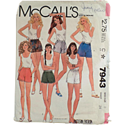 Vintage, McCall's Pattern #7943 - Miss Size 8 Short-Shorts - 1982