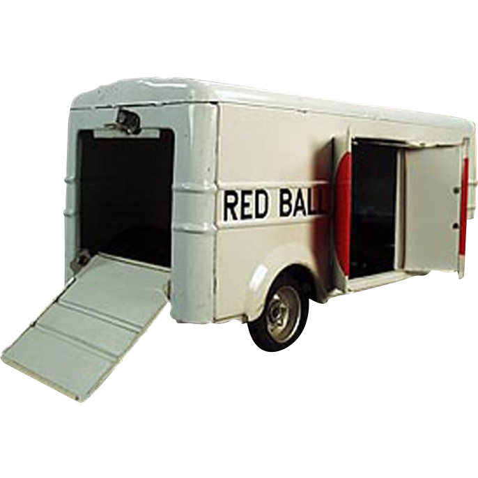 Vintage, Japanese Tin Toy, Cargo Trailer - Red Ball Express
