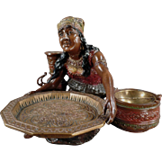 Vintage Card Receiver and Ashtray - Peasant Woman
