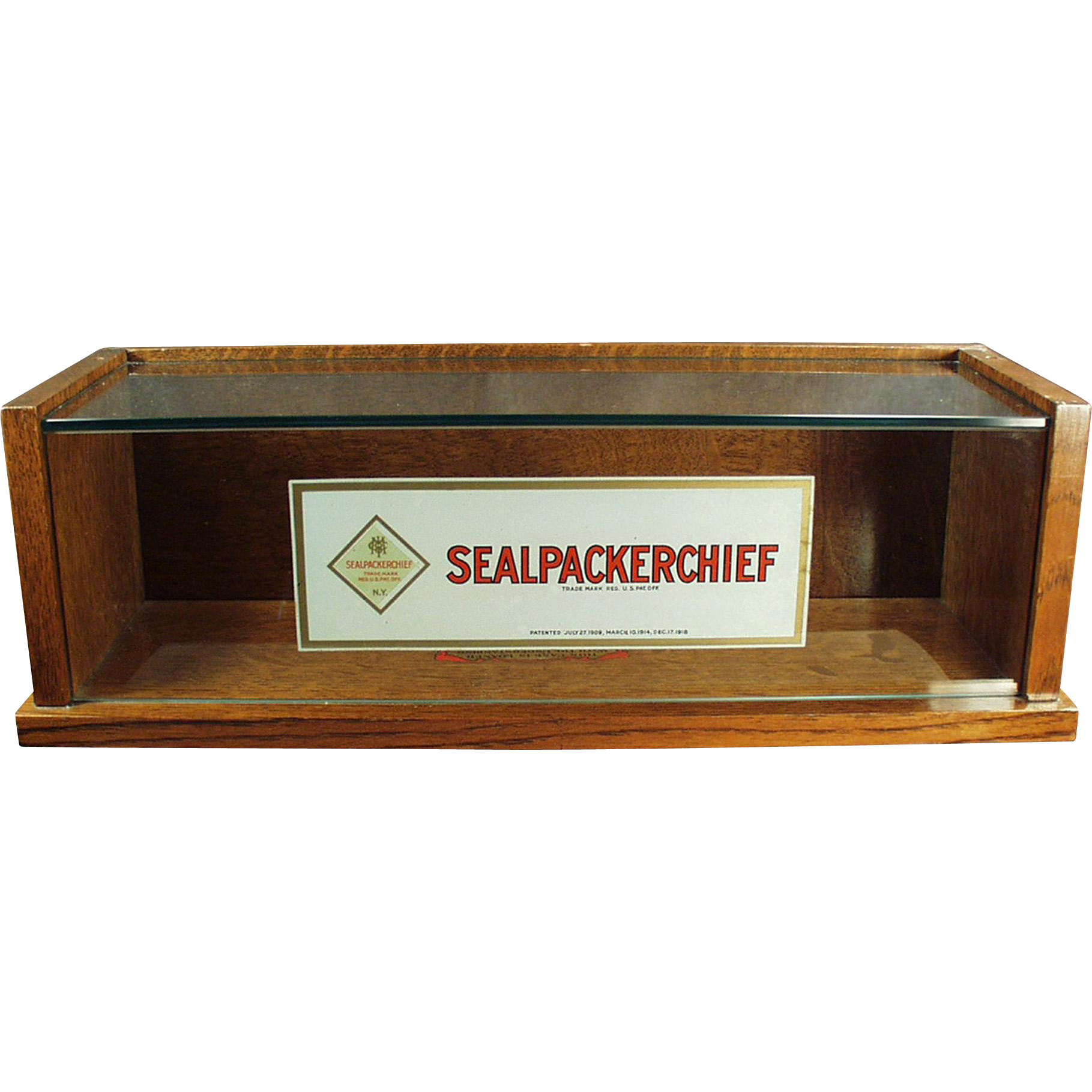 Vintage Handkerchief Display Case - Original Sealpackerchief Decals
