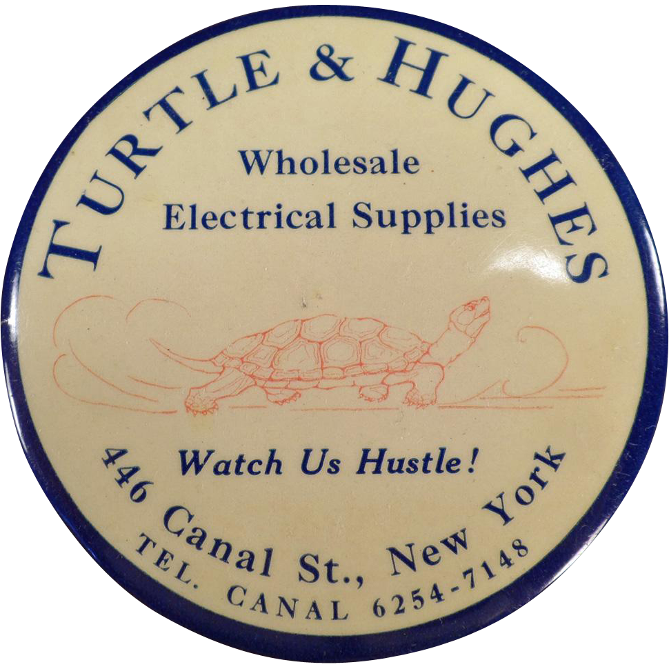 Vintage, Celluloid Advertising Mirror - Paperweight Size - Turtle & Hughes