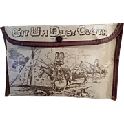 Unusual, Vintage Git-Um Dust Cloth Pouch with Indian Motif
