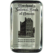 Vintage Glass Paperweight - Bank of Omaha Advertising
