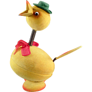 Vintage, Easter Candy Container - Funny, Fuzzy Chick with Glass Eyes