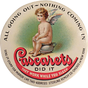 Vintage, Celluloid Pocket Mirror - Cascarets Laxative Advertising