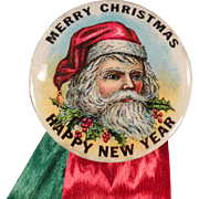 Vintage Santa Claus, Celluloid Pinback with Original Ribbons & Card