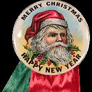 Vintage Santa Claus, Celluloid Pinback with Original Ribbons & Card