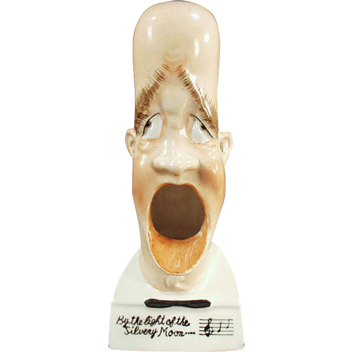 Vintage, Smoking Head Porcelain Whimsy - Silvery Moon