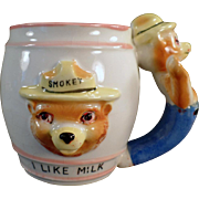 Old, Smokey the Bear, I Like Milk Mug with Figural Handle