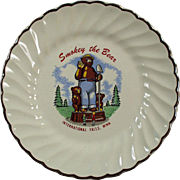 Vintage, Smokey the Bear Souvenir Plate - International Falls