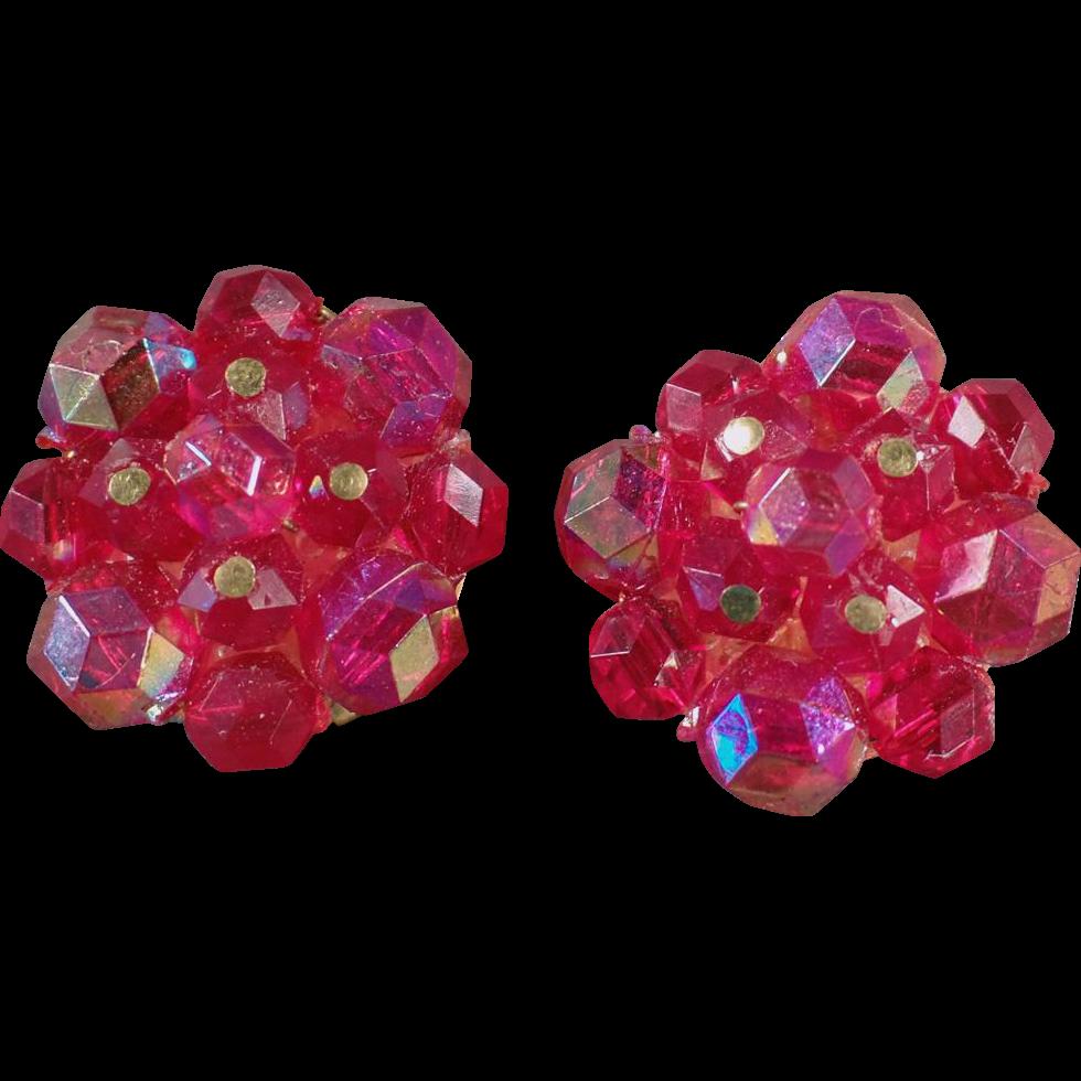 Vintage, Clip On Earrings - Iridescent Bead Clusters- West German