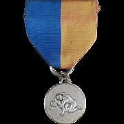 Vintage, Wrestling Medal with Original Blue & Gold Ribbon