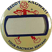Vintage Reddy Kilowatt, Name Badge Pinback