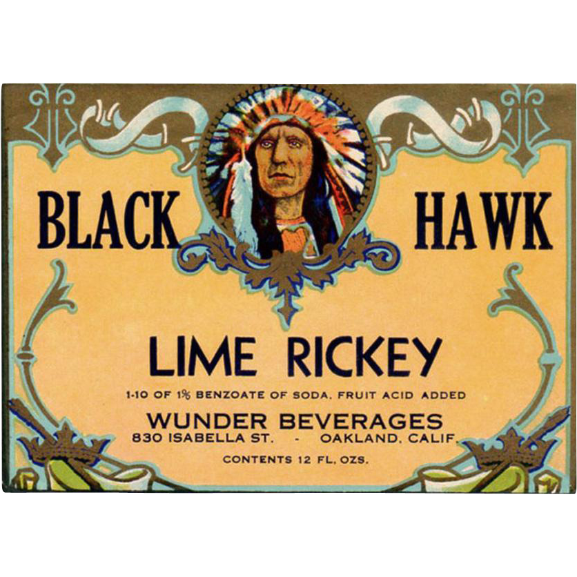 Vintage, Soda Pop Bottle Label - Black Hawk