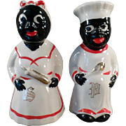 Vintage, Hand Painted, Black Mammy & Chef Salt & Pepper Set -Gold Trim