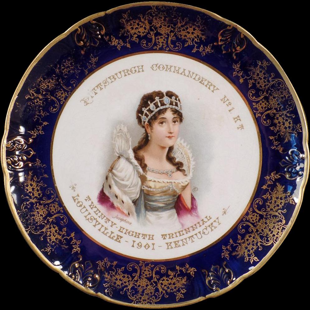 Vintage, Porcelain, Portrait Plate - Knights Templar Souvenir - 1901