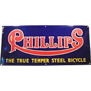 Vintage Porcelain Sign Advertising Phillips Bicycles - Rich Colors, Large Size