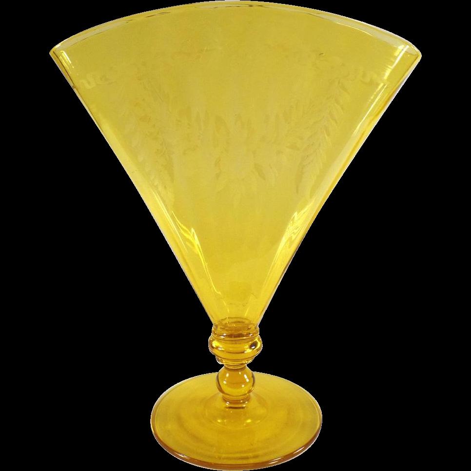 Vintage, Steuben #6287, Optic Ribbed Fan Vase with Etched Design