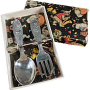 Baby's Vintage, Silver Plate Flatware Set - Little Miss Muffet