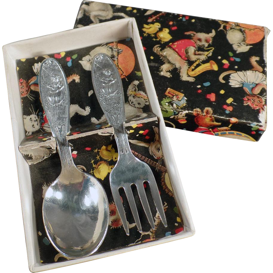 Baby's Vintage, Silver Plate Flatware Set - Little Miss Muffet