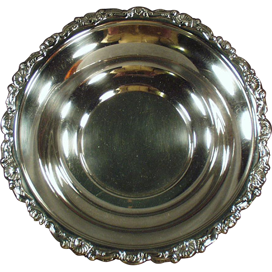 Vintage, Silver Plate Serving Bowl / Candy Dish - Ornate Edge