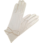 Vintage, Kid Leather Gloves with Detailed Edge - Ladies - Wrist Length