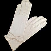Vintage, Kid Leather Gloves with Detailed Edge - Ladies - Wrist Length