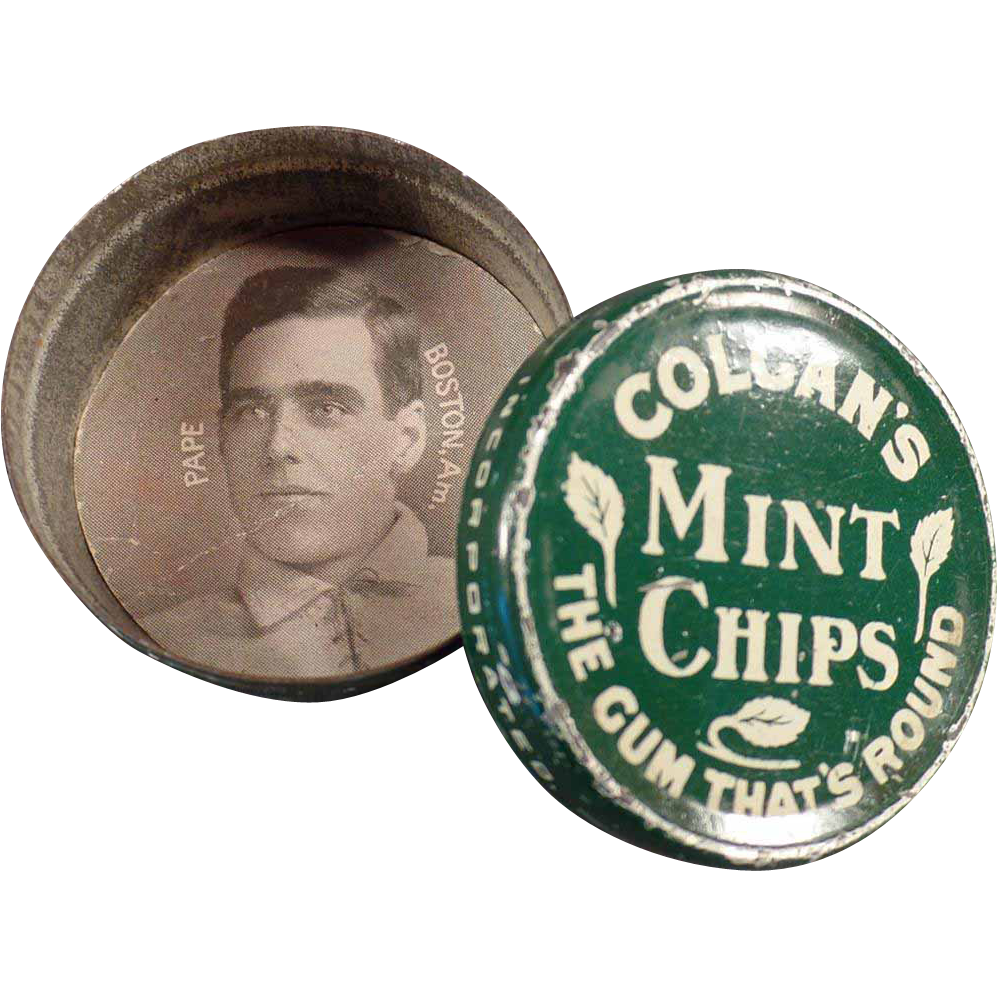 Vintage Gum Tin with Larry Pape Baseball Card - Colgan's Mint Chips