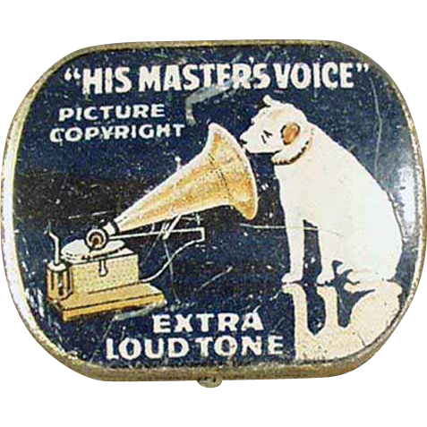 Vintage, Phonograph Needle Tin - His Master's Voice - Blue