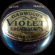 Vintage Advertising Tin - Garwood's Violet Breath Hearts