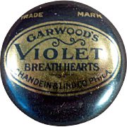 Vintage Advertising Tin - Garwood's Violet Breath Hearts