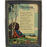 "Vintage Motto Print ""Mother! Home!"" Poem by John Jarvis Holden"