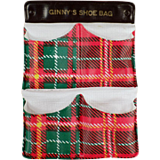 Vintage Accessory Item for Ginny Doll - Gay Plaid Shoe Bag