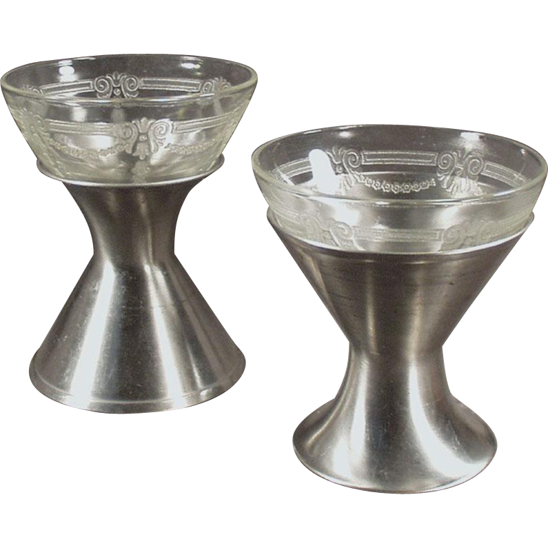 Vintage Sherbet Dishes - Depression Glass with Metal Holders