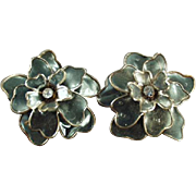 Vintage Costume Jewelry Earrings - Large Flowers with Rhinestones - Clip On Style