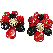 Vintage Clip On Earrings - West German, Red & Black Beads