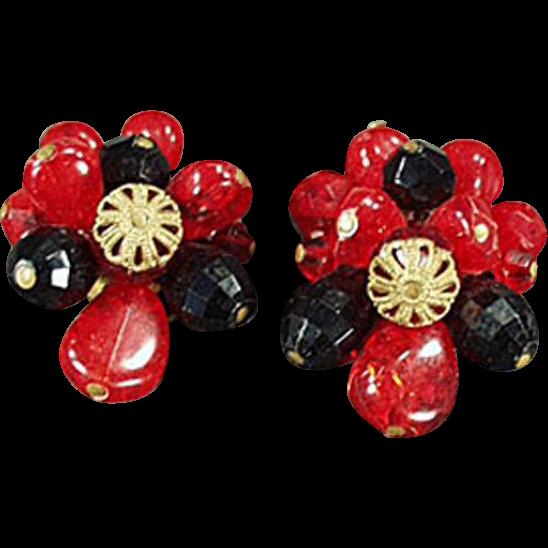 Vintage Clip On Earrings - West German, Red & Black Beads