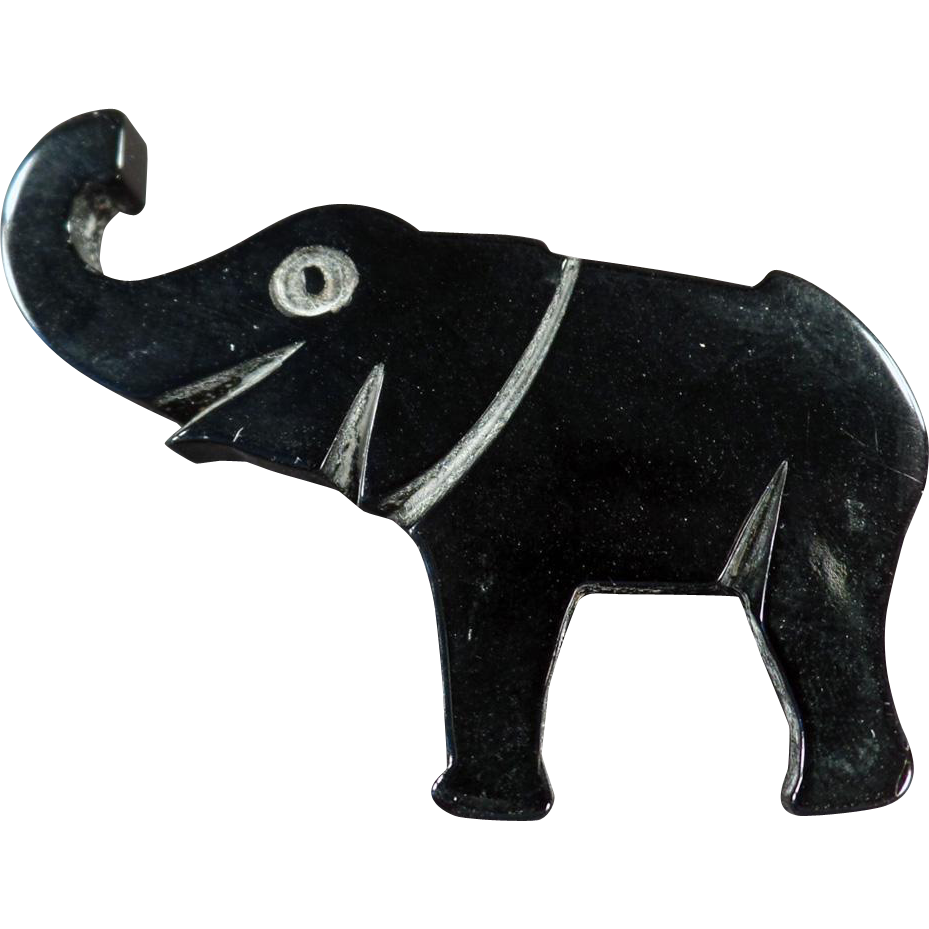 Vintage, Lucky Elephant Pin in Deco Style