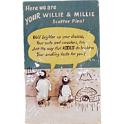 Vintage, Kool Cigarettes, Willie & Millie Penguin Scatter Pins with Original Packaging