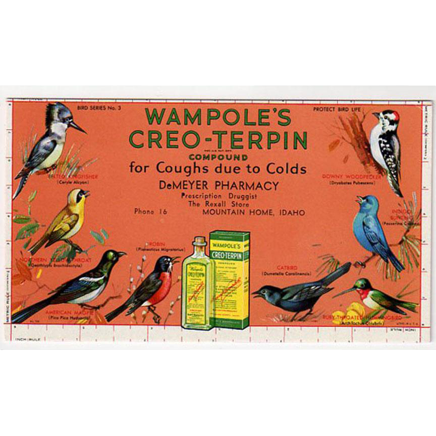 Vintage, Advertising Ink Blotter - Wampole's Creo-Terpin