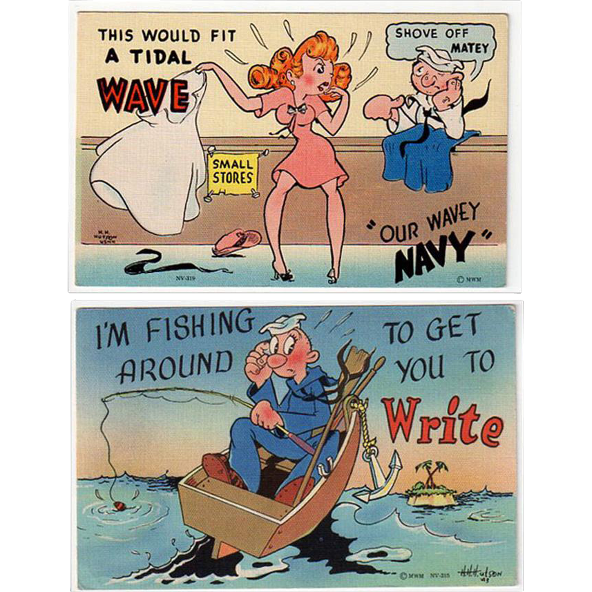 Two, Vintage Postcards - Humorous Military - Colorful and Never Used