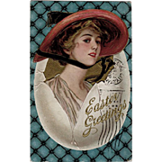 """Vintage """"Easter Greetings"""" Postcard with Pretty Woman"""