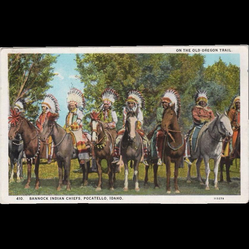 Vintage, Oregon Trail Souvenir Postcard with Bannock Indians