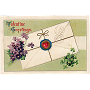 Vintage Valentine Postcard with Violets & Shamrocks