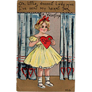 Vintage, Valentine Greeting Postcard with a Little Girl