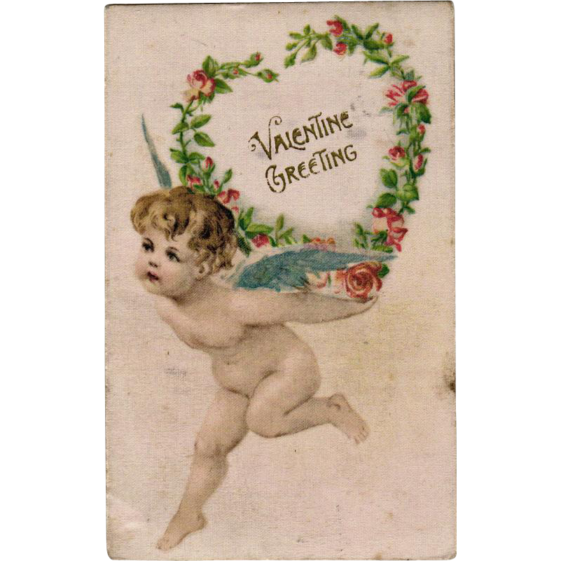 Vintage, German Valentine Postcard with Cherub